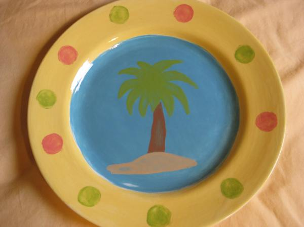 My sister, mom, and I went to a little paint-your-own pottery place a couple weeks ago, and we just picked ours up! Here's the plate I painted!