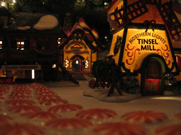 I also helped set up our Christmas village that we put under the tree.