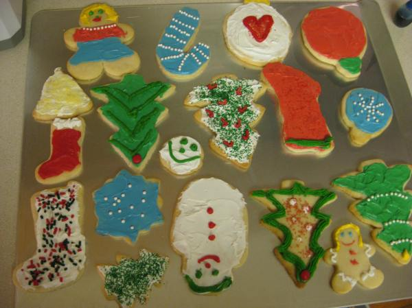 Some of the sugar cookies my sisters and I made.