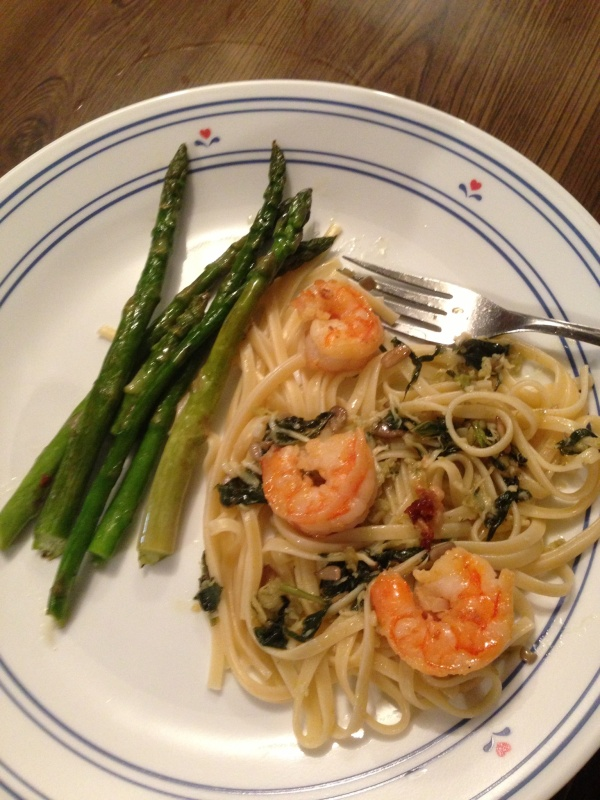 Shrimp pesto pasta recipe from Curtis Stone. My mom has a crush on him, which is kind of funny.